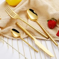 stainless steel gold cutlery set dining forks knives spoons flatware sets retro golden cutlery dinnerware sets western tableware