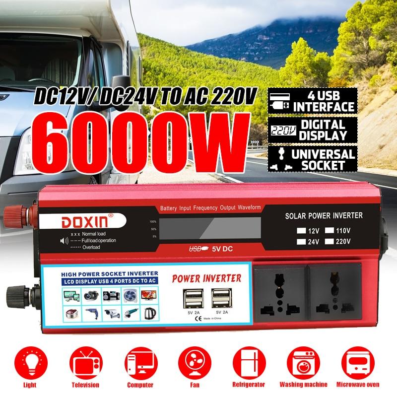 Inverter 6000W Car Inverters Modified Sine Wave Solar Power DC 12/24V To AC 220V  Voltage Transformer Adapter Charging Converter