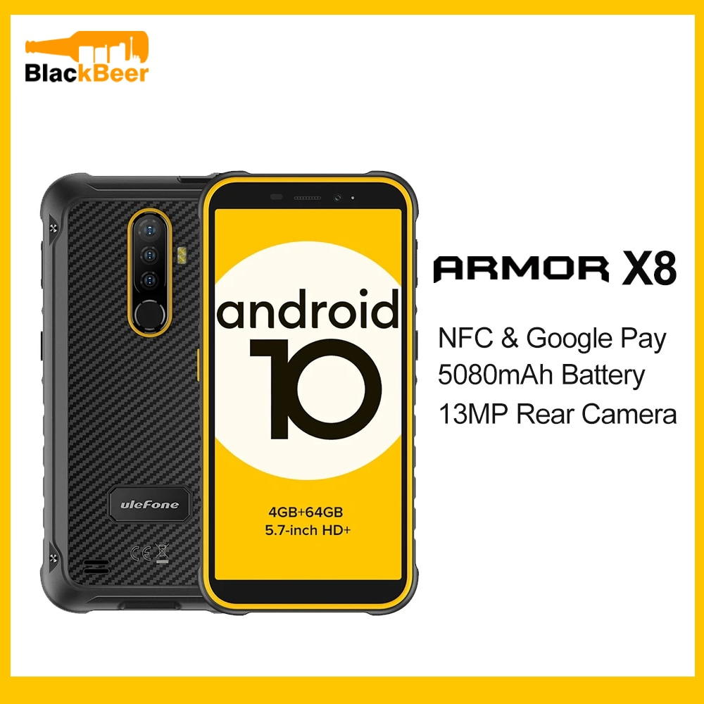 Ulefone Armor X8 Rugged Mobile Phone IP68 Waterproof 5.7 Inch Smartphone Android 10.0 4GB 64GB CellPhone Octa Core NFC 5080mAh