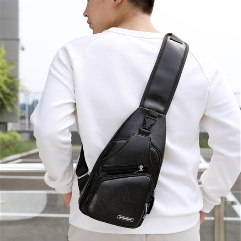 Male USB Charging Shoulder Bag Crossbody Chest For Men Anti Theft Waist Pack Trip Messenger Bags Single Strap Back