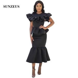 Black Mermaid Prom Dress Tea Length Long African Women Party Gown Ruffles Formal Wear