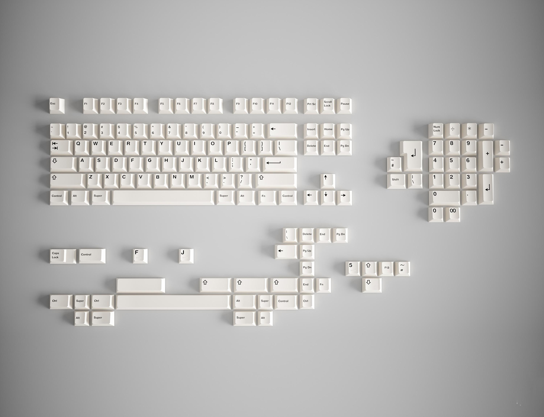 GeekArk BOW R2 PBT Plain White Keycaps New Mold Sublimation Keycap Cherry Profile Mechanical Keyboard Keycaps