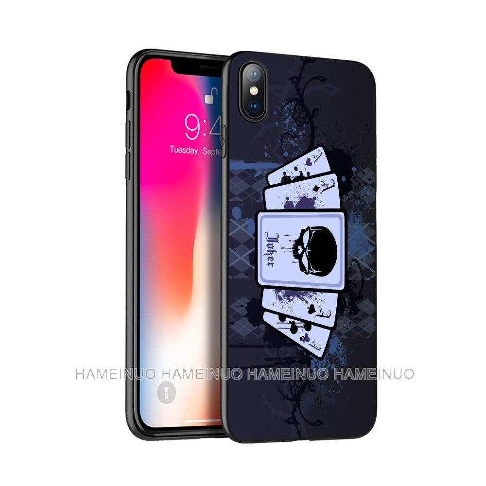 Negro tpu caso para iphone 5 5s SE 2020 6s 6 7 8 plus X 10 XR XS 11 pro MAX caso de la cubierta del silicio de jugador de Poker arte