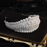 korean sweet handmade pearl bridal crown headdress full pearl hairbands wedding hair accessories for women