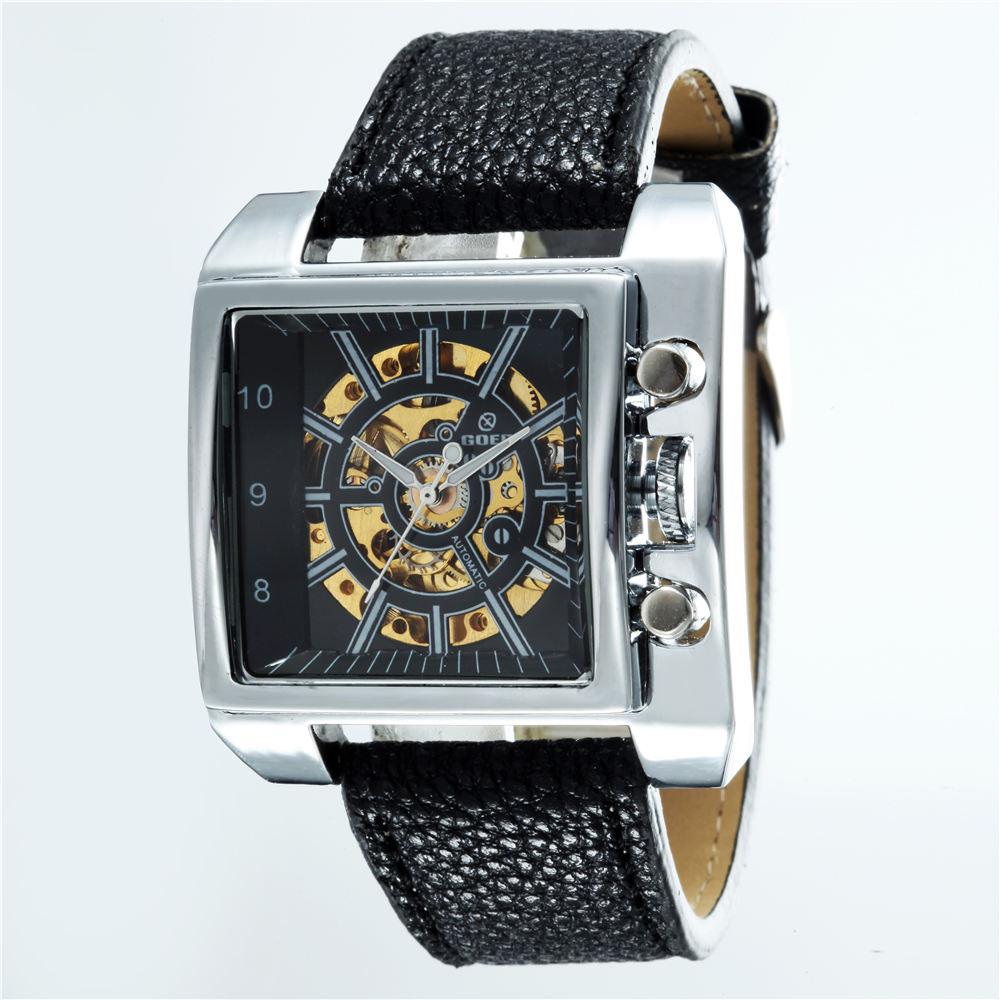 Relojes rectangulares de moda GOER, relojes mecánicos automáticos para hombres, relojes deportivos para hombres, relojes masculinos