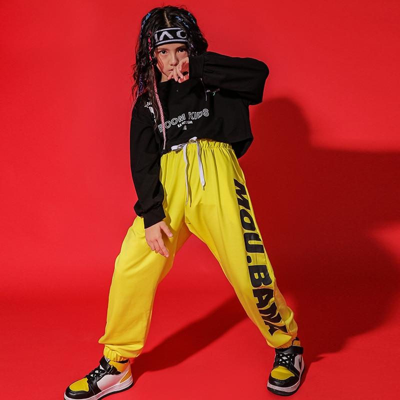 Ropa de hip-hop para niños sudaderas negras y pantalones cortos y pantalones...