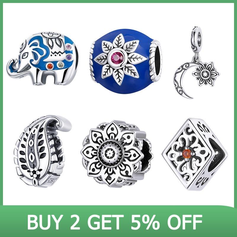 BISAER 100% 925 Sterling Silver Elephant Moon Lotus Leaf Charm Beads Fit Women Bracelet DIY Beads Retro Fine Jewelry ECC1821