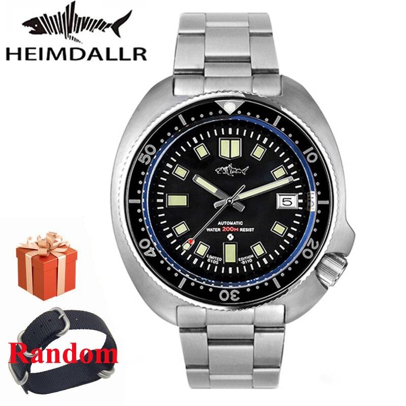 HEIMDALLR-ساعة غوص كلاسيكية للرجال ، مقاومة للماء ، 20atm ، 44 مللي متر C3 ، قرص مضيء ، كريستال الياقوت ، NH35A ، حركة أوتوماتيكية