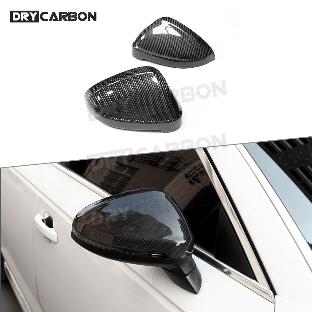 Fibra de carbono Real para espejo retrovisor de puerta de cubiertas de molduras para Audi A4 S4 RS4 B9 A5 S5 RS5 2016 2017 reemplazo de estilo