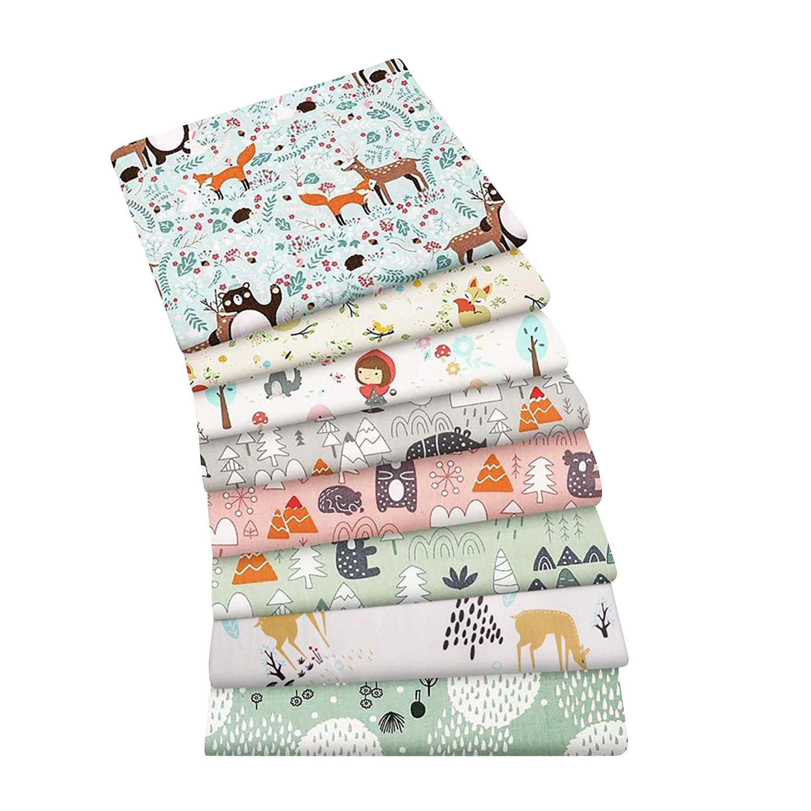 8PCS Cartoon Tiere Gedruckt Baumwolle Tuch Hause Textil Patches Kleid Nähen Material DIY Pures Handwerk Liefert