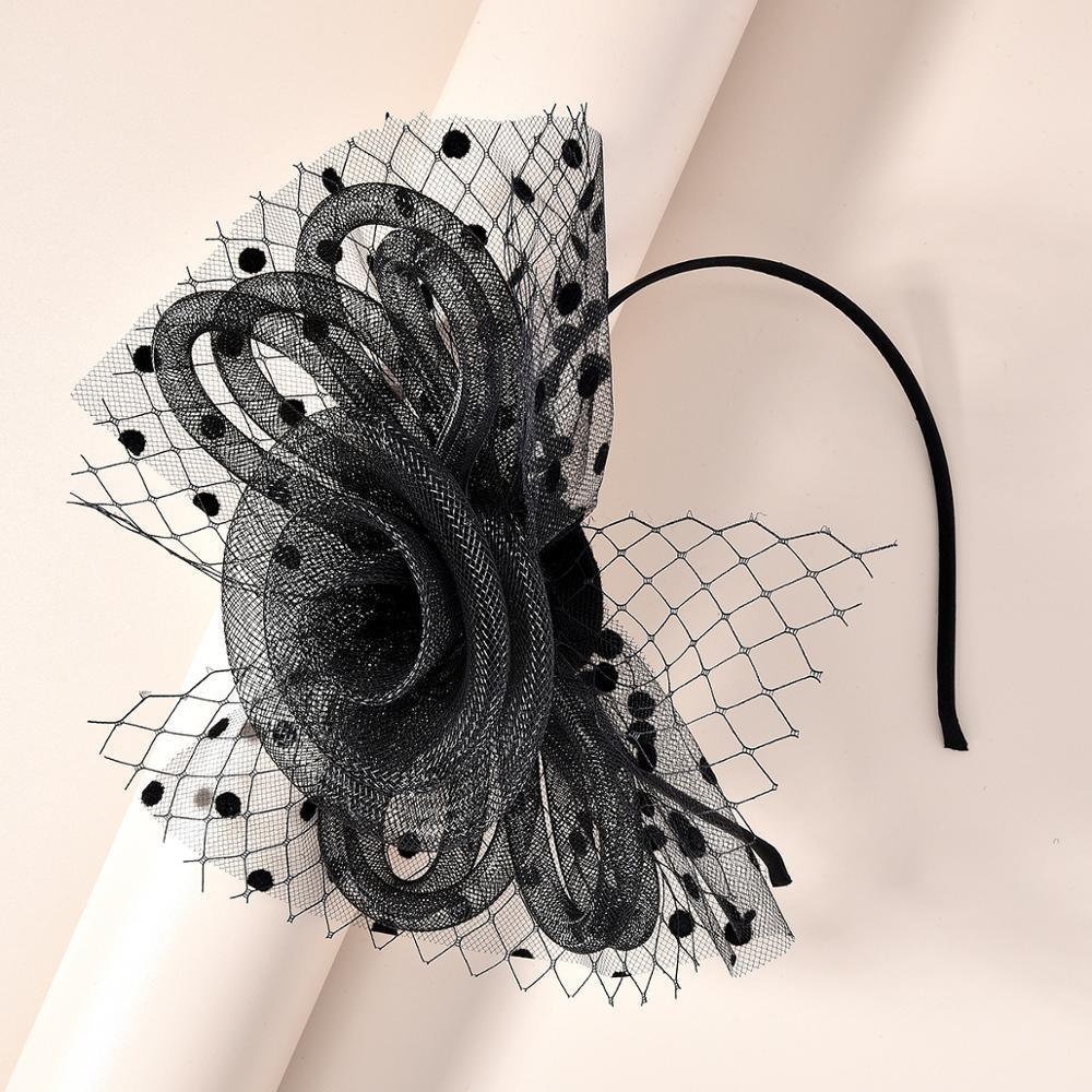 Cinta con flores de hilo de malla, Diadema con lazo, tocado para el pelo, diadema para mujer, accesorios para el cabello para boda o fiesta