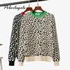 Maglione Autunno inverno Maglione Lavorato A Maglia maglioni Delle Donne 2020 coreano di grandi dimensioni femmina di leopardo jacquard di modo misto lana pullover