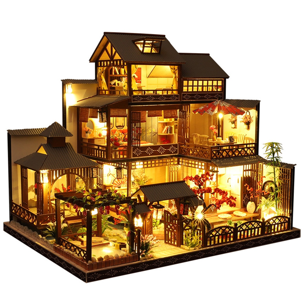 3d de madeira diy casa em miniatura kit artesanal casa de bonecas móveis led casa 3d puzzle decoração presentes aniversário