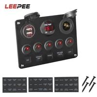 leepee car marine led rocker switch panel waterproof digital voltmeter dual usb port 12v outlet combination