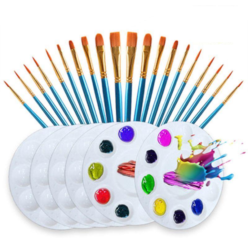 26pcs/set Artist Paint Brush Nylon Hair Watercolor Acrylic Oil Painting Palette