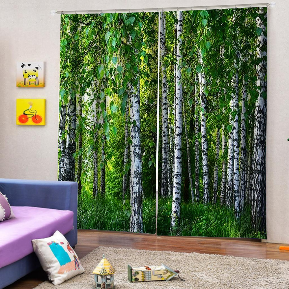 Printing Forest Scenery Curtains For Living Room Bedroom Home Decor Green Tree Curtains For Kitchen Window Door