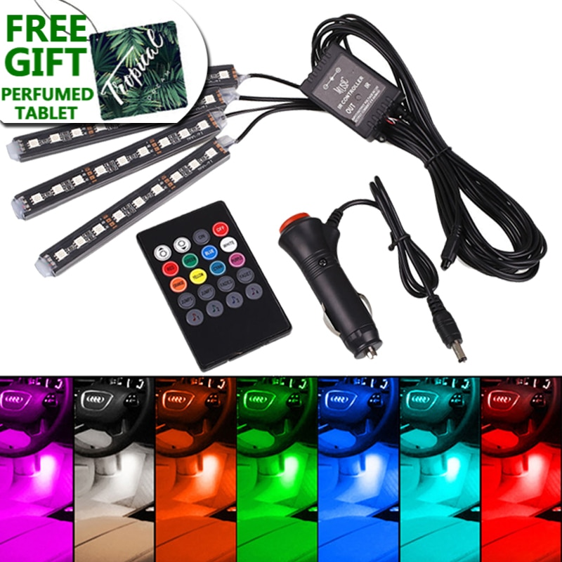 Car LED RGB Atmosphere Strip Light Remote voice control Interior Styling Decorative Dynamic ambient 12V