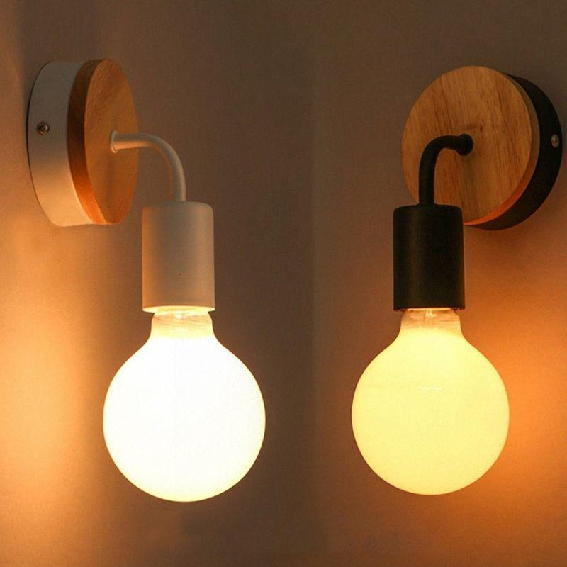 Lámpara de pared Simple Industrial moderna mesa de madera cruda Pared de café Sconces decoración del hogar