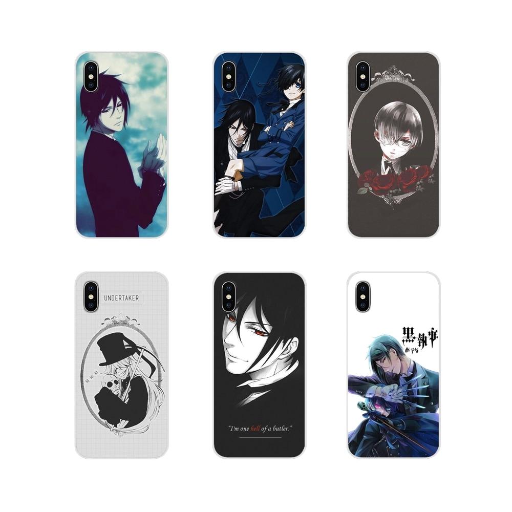 Anime negro Butler Kuroshitsuji TPU transparente cubre para iPhone X de Apple XR XS 11Pro MAX 4S 5S 5C SE 6 6S 7 7 Plus ipod touch 5 6