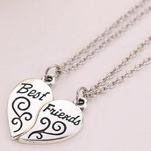 2 uds. Collar de cadena de regalo de las hermanas mejores amigas con las letras de las parejas del corazón de la muchacha de las mujeres 2020