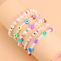 bohemian cute small beaded anklet for women fashion new colorful star smiley flower short bead charm foot jewelry accessories