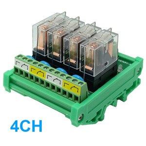 4 Channels DIN Rail Mount Interface Relay Module  OMRON G2R-1-E 16A INPUT DC 12V 24V