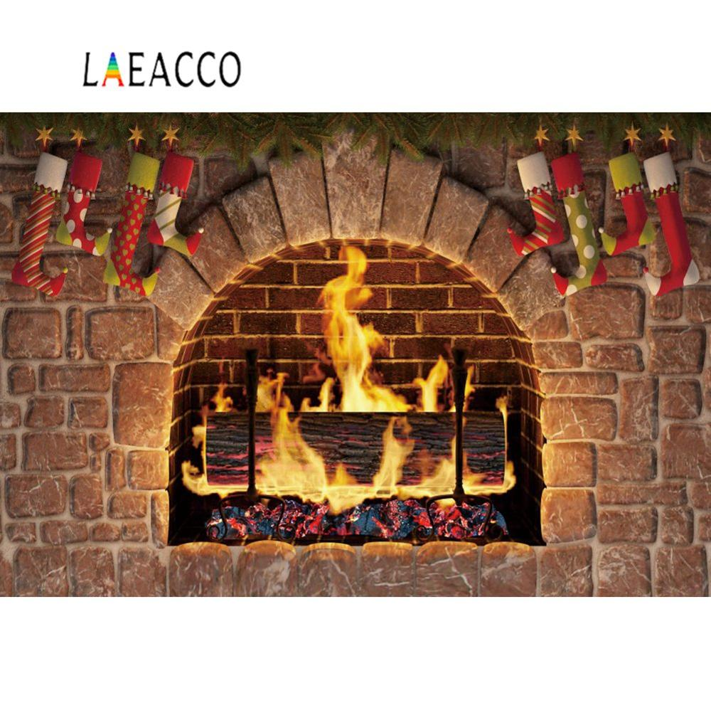 Laeacco antigua piedra chimenea fuego calcetín Navidad festivales bebé niño foto fondos fotografía telón de fondo para estudio fotográfico