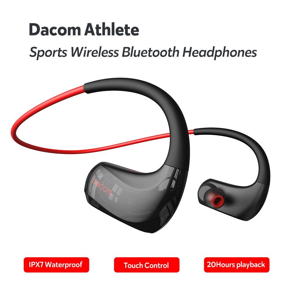داكوم رياضي سماعات لاسلكية الرياضة سماعات بلوتوث IPX7 مقاوم للماء 20 ساعة تشغيل لتشغيل AAC