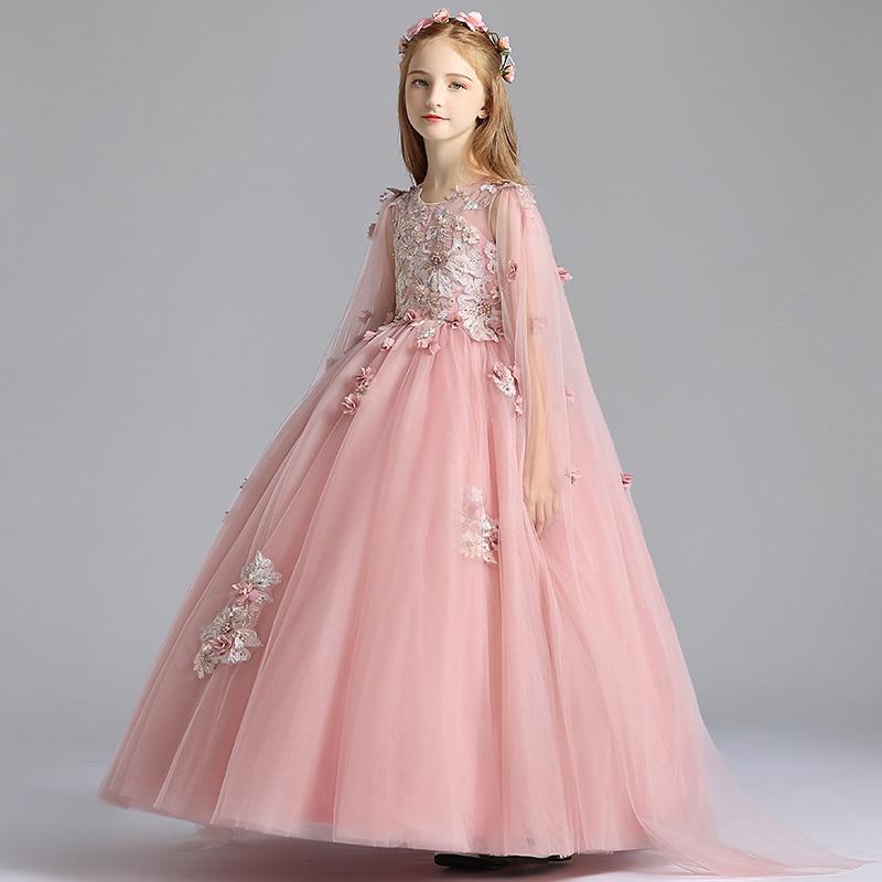فستان بناتي أنيق لحفلات أعياد الميلاد مزين بالخرز فستان زفاف للفتيات طويل وردي تول فتاة فستان أول مناولة