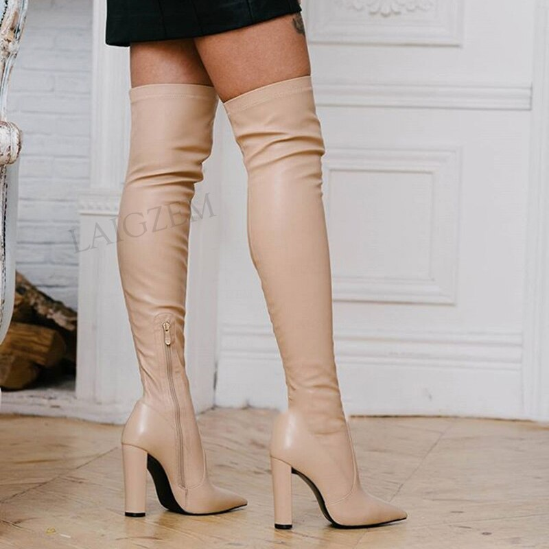 حذاء نسائي ذو فخذ عالي مطاطي ذو كعب عالي سميك فوق الركبة أحذية نسائية أحذية نسائية مقاس كبير 39 43 44 46 47