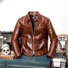 Classique 1930 revers moto cuir toscane importé Batik lourd pleine fleur cuir coupe ajustée veste en cuir