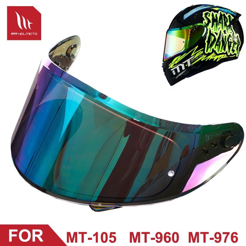 Lentes para casco de motocicleta MT para MT-105 960 976, visera modelo colorida plateada y negra