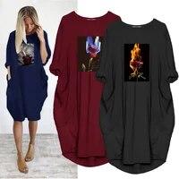 ladies dress loose burning rose fashion print long sleeve o neck pocket casual party vintage streetwear vestido robes