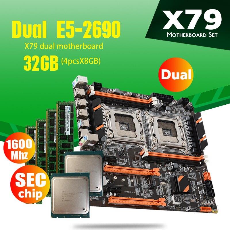 Atermiter X79 Dual CPU Placa base con 2 × Xeon E5 2690 4 × 8GB = 32GB 1600MHz PC3 12800 DDR3 ECC REG memoria DDR4