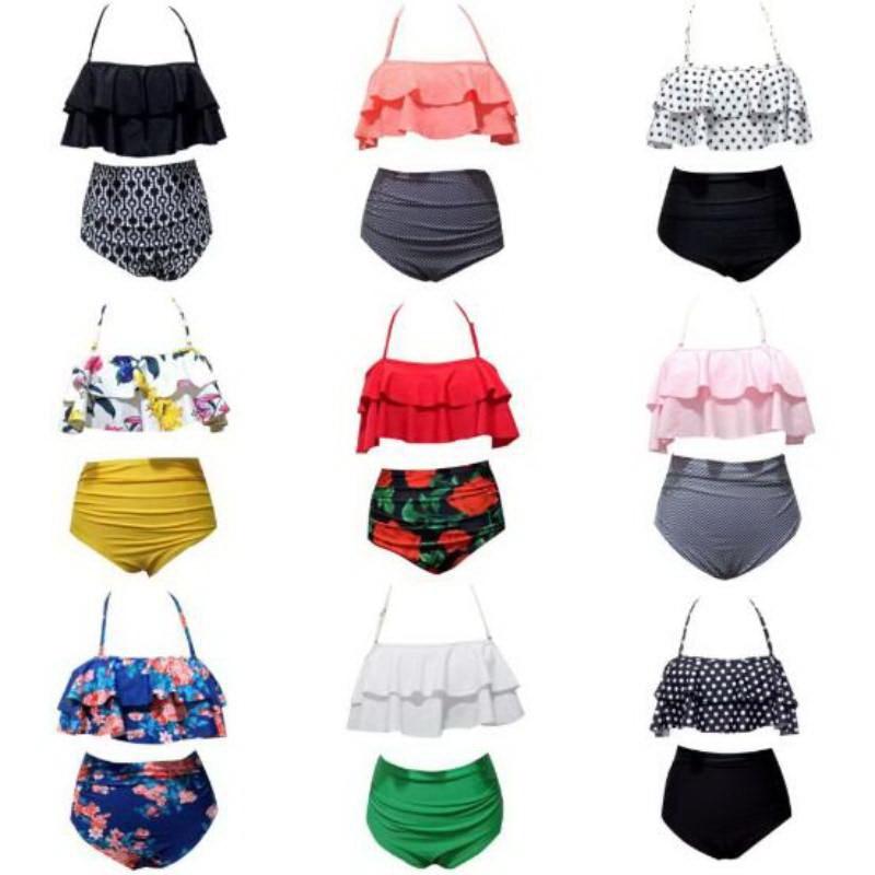Bikinis traje de baño para mujer, bikini de cintura alta, traje de baño 2020, traje de baño de talla grande, juego de bikini estilo push up, ropa de playa, Biquini