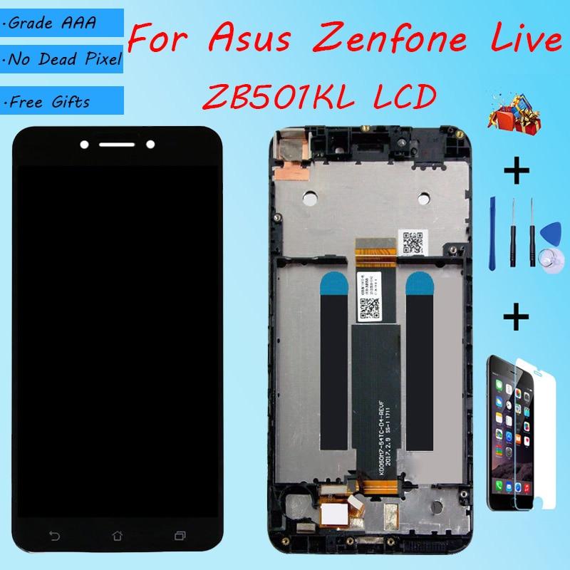 Para Asus Zenfone Live ZB501KL montaje de pantalla LCD con carcasa frontal cristal táctil, A007 X00FD pantalla LCD original blanco negro