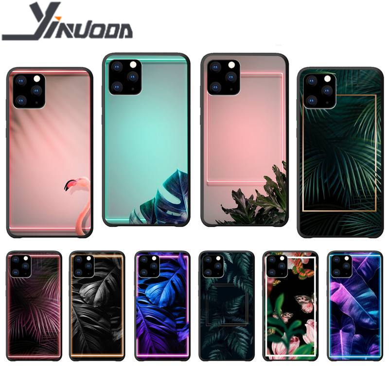 Funda de lujo Yinuoda de flores tropicales etui para iphone 5s se 2020 6 6s 7 8 plus x xs max xr 11 pro max funda de silicona