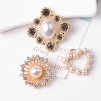 5pcslot alloy creative rhinestone gold pearls pendant button ornaments jewelry earrings choker hair bag diy jewelry accessories