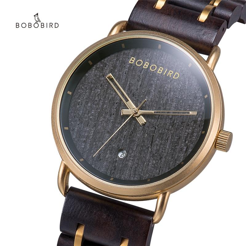 BOBO BIRD ساعة فاخرة خشبية تاريخ السيارات الذهبي معدن ساعة معصم للرجال هدية عيد الميلاد مع صندوق relogio masculino