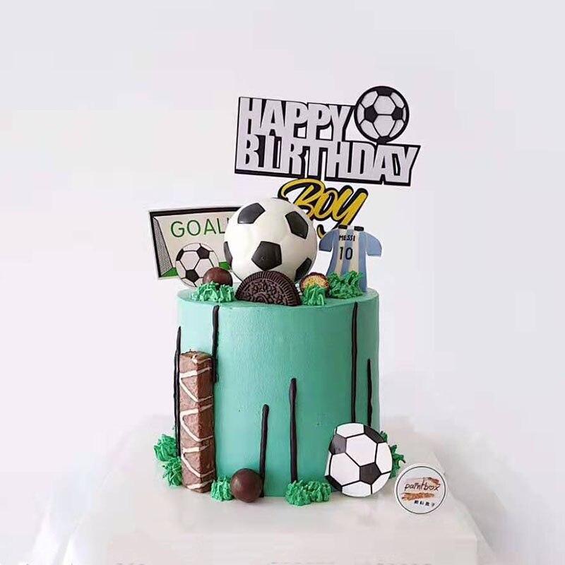 Креативная футбольная Спортивная Тема счастливые топперы для торта на день рождения мультфильм мальчик День Рождения Кекс Топпер украшени...