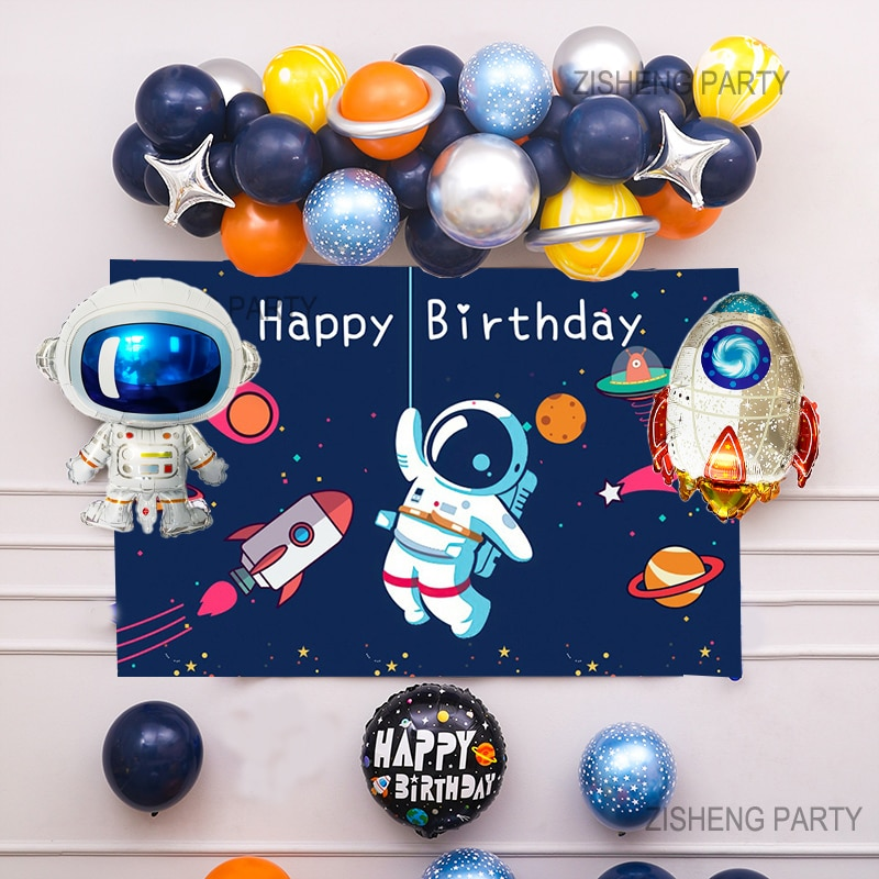 AliExpress - Outer Space Balloon Garland Kit Arch Moon Rocket Astronaut Foil Helium Balloons For Galaxy Theme Boy Kids Birthday Party Decor