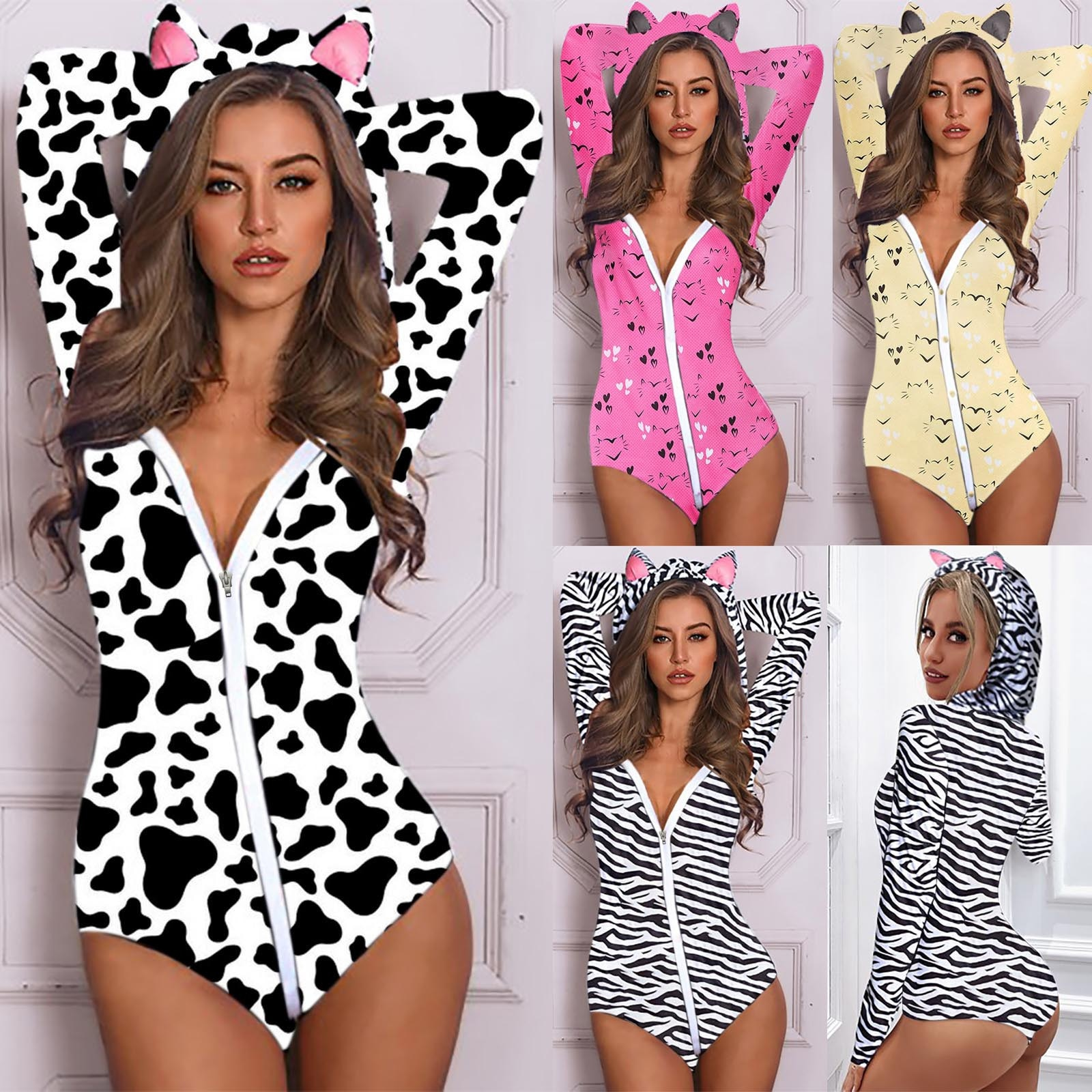 Women Fashion Hooded Cat Ear Cute Long Sleeved Cows Printed Pajamas Jumpsuit