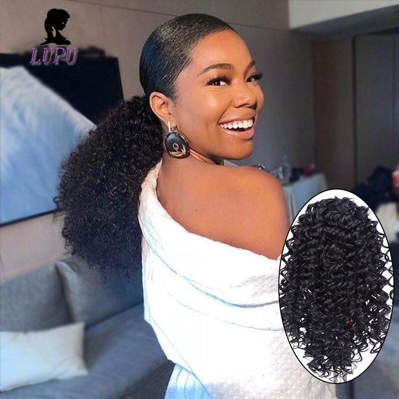 LUPU Puff Afro rizado corto Clip de cola de caballo en extensiones de cabello fibra sintética resistente al calor para Mujeres Afro Americano