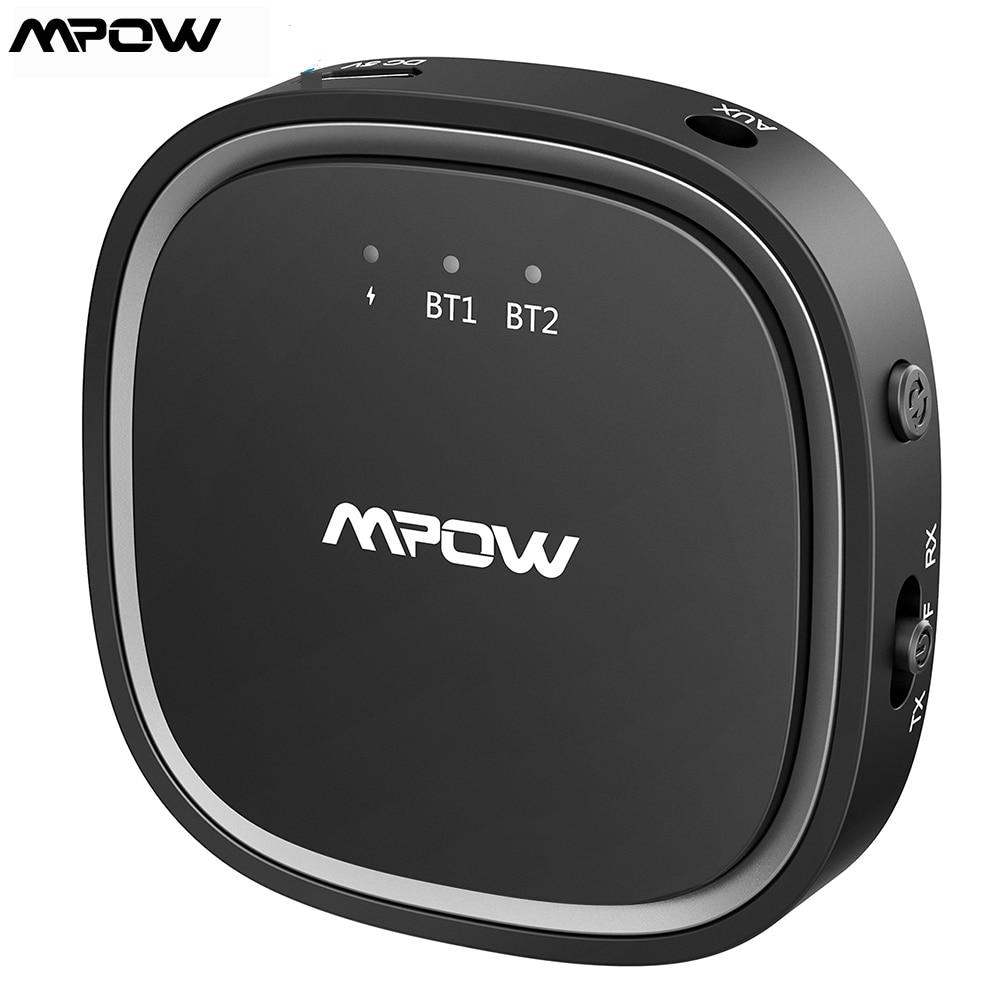 Mpow Bluetooth 5.0 Transmitter 2-in-1 Wireless Audio Adapter Receiver with aptX aptX-LL aptX-HD CSR Chip Dual Link Transmitter