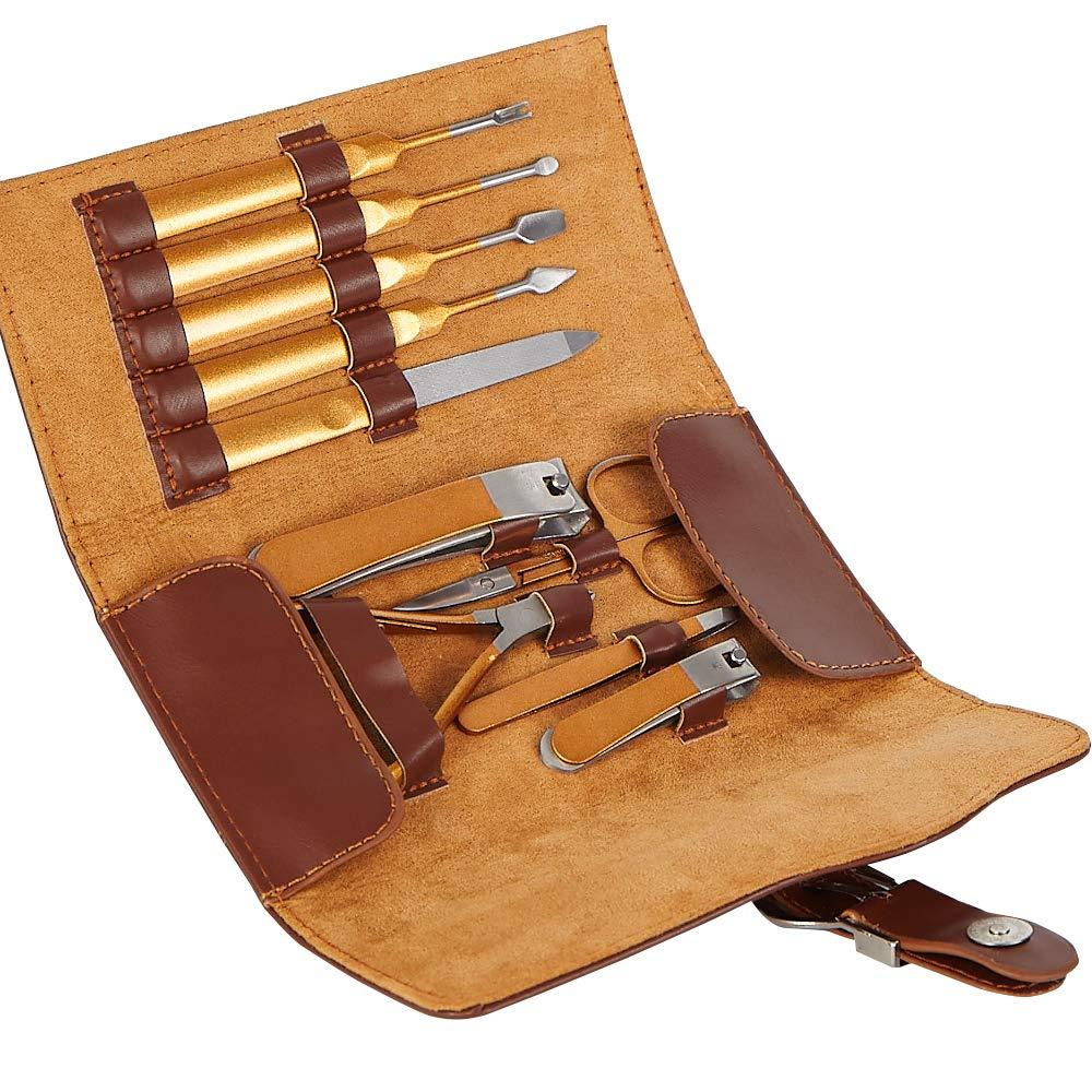 10PCS Manicure Set Genuine Leather Nail Care Personal Manicure & Pedicure Set, Manicure Travel & Gro