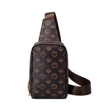 Fashion Box Men Chest Bags Leather Small Sling CrossBody Bag For Male Unisex Zipper Cross Body Shoul
