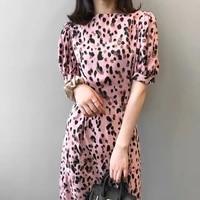2021 summer new korean style temperament dress female french waist thin sexy leopard print long y2k dress for women sexy