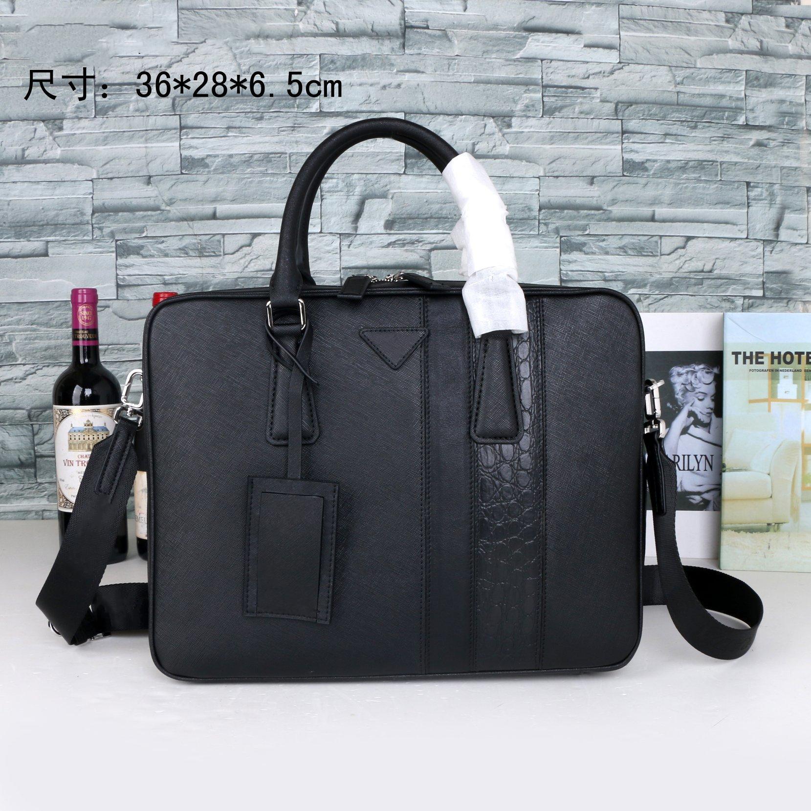 2021 men's black leather designer briefcase laptop bag large capacity retro fashion office handbag