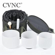 "CVNC 440Hz or  432Hz 6"" 8""10"" Frosted Quartz Crystal Singing Bowl chakra set 3 pcs with 1pc Liner Green Travel bag"