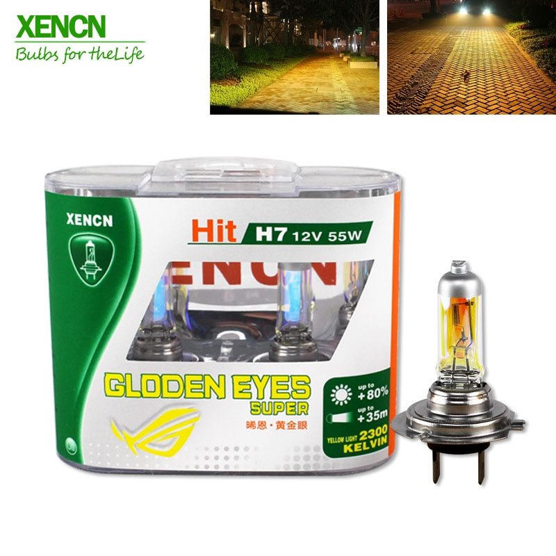 XENCN H7 12V 55W P43t 2300K Halogen Headlihgt Replace Upgrade Super Yellow Light Car Bulbs 30% More